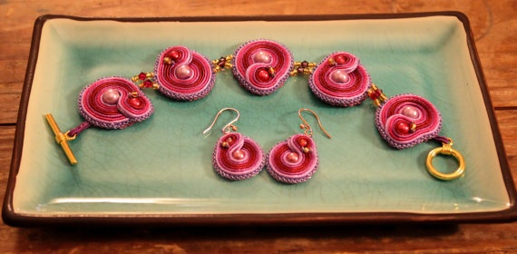 Handstitched Bracelet and Earrings Inspired by Inara Serra of Firefly WickedLittleShop, $46.00