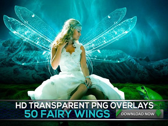 Fairy wings for your photos. Play dress in a picture when editing with Photoshop using one or more of these 50 Digital Fairy & Angel Wing Overlays, I'd love to do use this for a portrait to hang in my fairy house or a picture for a little girl to hang in her dress-up space when she wants to imagine herself as a fairy. I love this blue one - so magical and pretty.
