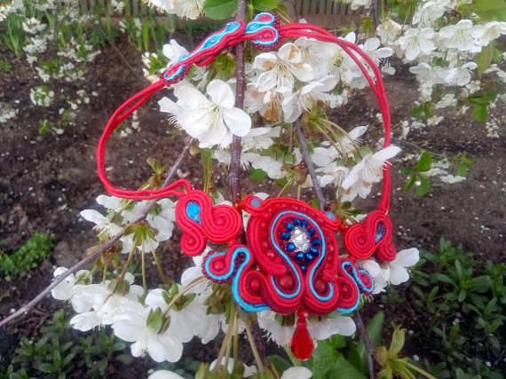 Soutache necklace Scarlet frosting  to a wedding