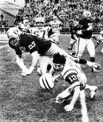 """Ben Davidson taking Joe Namath's head off. Great play that probably would get him fined today as we strive to take the """"football"""" out of football."""