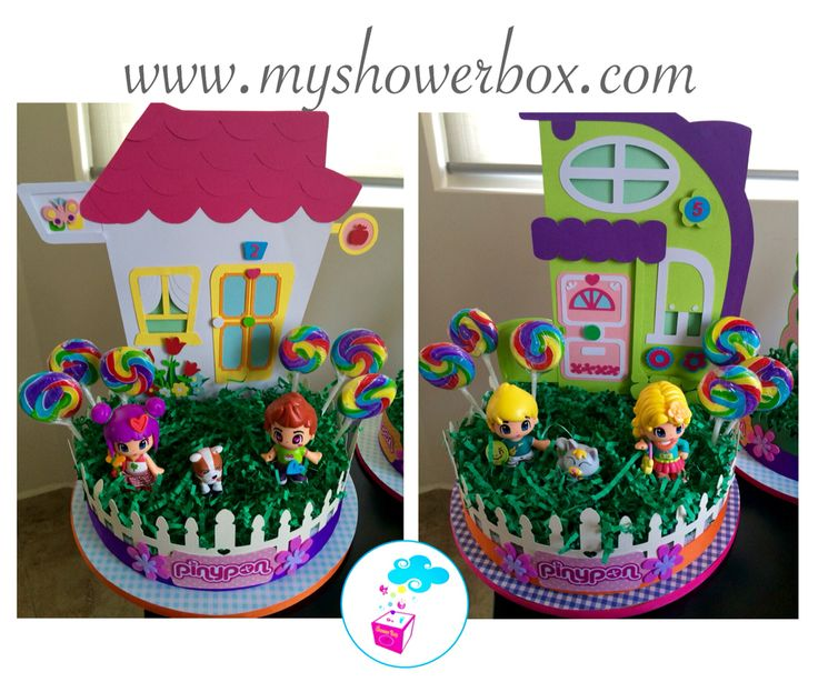 Pinypon birthday centerpieces Exclusive by ShowerBox Designs! Find us on fb! Or visit us at www.myshowerbox.com
