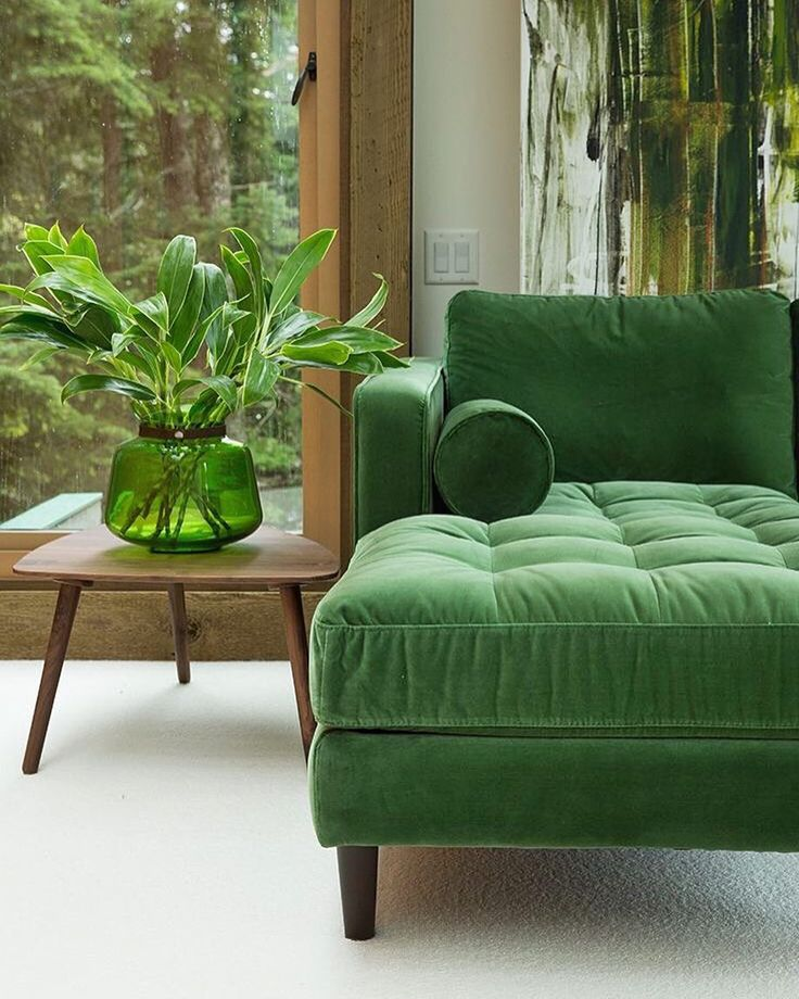 Outdoors indoor. The transition is seamless with the organic palette of this room. The Sven sectional by @article in Grass Green. by spruceinteriors http://discoverdmci.com
