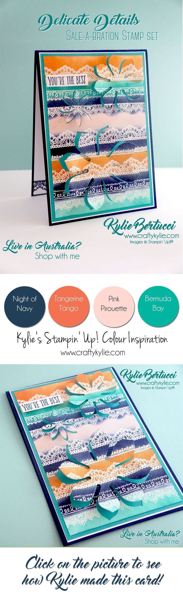 Kylie Bertucci - Delicate Details and Succulent Framelits. Crazy Crafters Blog hop with special guest Rachel Tessman. #stampinup #cardmaking #handmadecard #rubberstamps #stamping #kyliebertucci