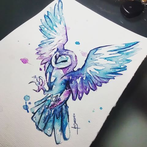 Coruja Técnica: Aquarela Arte: Amanda Barroso  Arte disponível para tatuar, interessados só chamar (: Estúdio Oca Tattoo  Av. Invernada 1923 - Valinhos/sp  #watercolor #aquarela #amandabarroso #owl