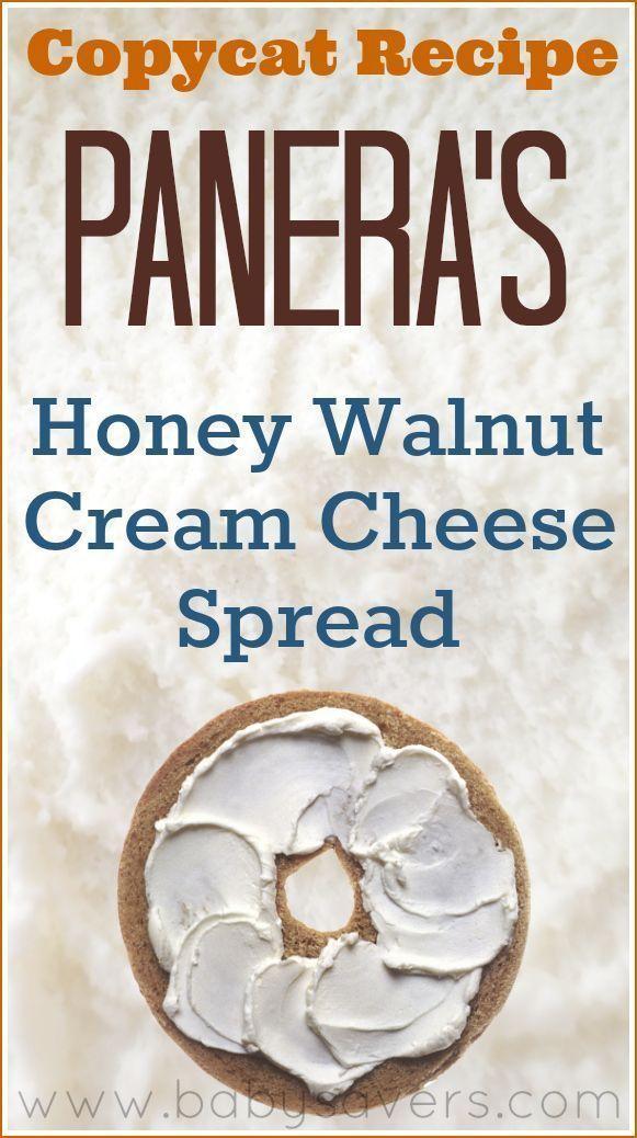 Copycat recipe: Panera Honey Walnut Cream Cheese Spread recipe. A creamy, sweet and tangy bagel spread that tastes exactly like Panera's delicious recipe!
