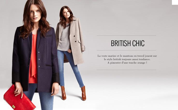 1.2.3 Paris - Tendances de la Collection Automne-Hiver 2012: British chic #mode #hiver #automne #123 #manteau #orange #cravate #corail #veste #marine #pochette #camel #boots #jean #denim #bleu #taupe