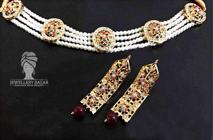Golden Based,Noratan Stones Studded Hyderabadi Pearl Collar Set  Available in Different Colours and Designs CODE: PNB 030 Price: 2,150 ( Cash on Delivery ) For order inbox us or CALL us at : 0312-8748677 whatsapp: 0345-2613601