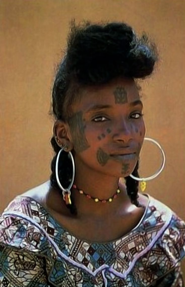 Africa | Wodaabe woman. Tahoua, Niger | Scanned postcard