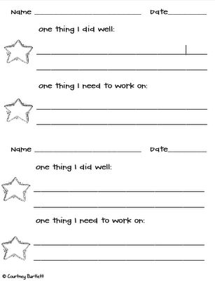 I really like this for goal setting... Thank you Courtney! It could be cut in half and taped into reader's notebook.  I like that it acknowledges what children did well before making a new goal.