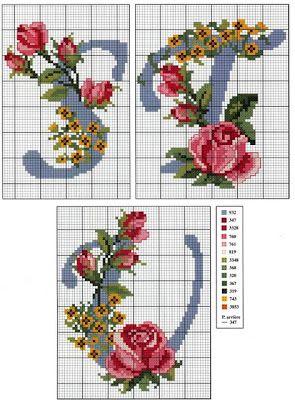 Bordado passo a passo: Alfabeto de Rosas em ponto cruz