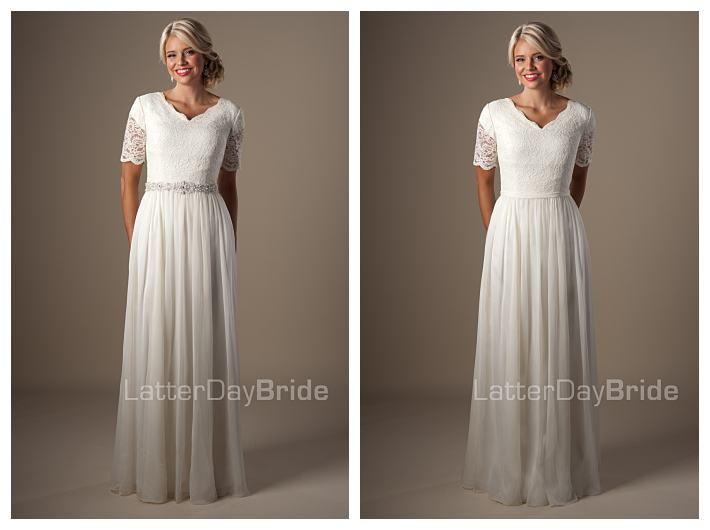 Leonora with belt budget wedding dress gateway bridal for Cheap lds wedding dresses