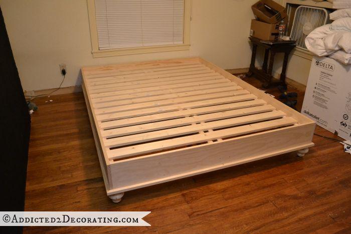 diy stained wood raised platform bed frame part 1 wood beds king platform bed and platform. Black Bedroom Furniture Sets. Home Design Ideas