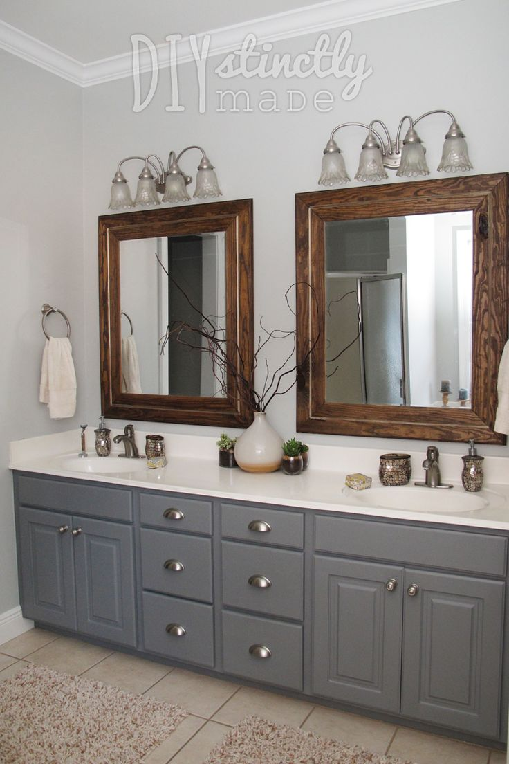 painted bathroom cabinets gray and brown color scheme - Painted Wood Bathroom Interior