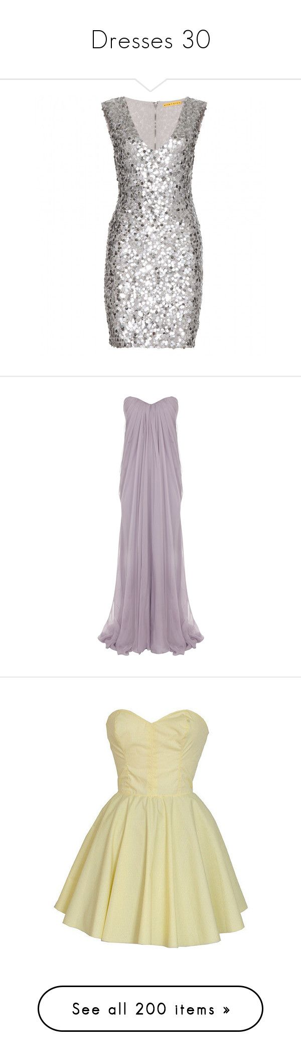 """""""Dresses 30"""" by summersurf2014 ❤ liked on Polyvore featuring dresses, vestidos, short dresses, cocktail dresses, metallic, metallic dress, short sequin dress, sequin mini dress, silver mini dress and mini dress"""