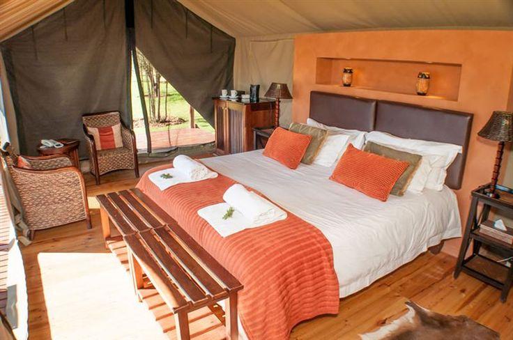 Inside the luxurious tents at Buffelsdrift Game Lodge.