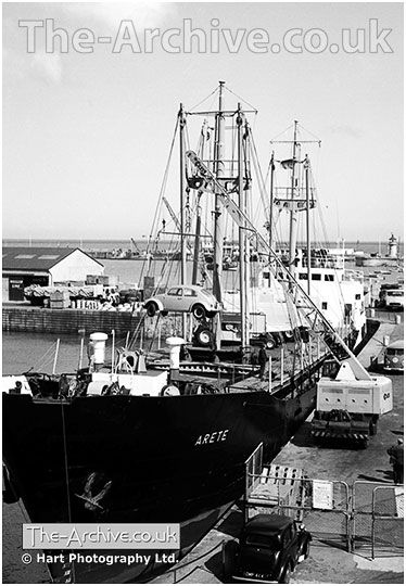 A picture of a new Volkswagen Beetle being unloaded from a ship at Ramsgate Docks, Kent, Year 1966. #OldPhotos #Volkswagen #Beetle #VWBeetle #VW #Volkswagen #Ship #Docks #Ramsgate #Kent