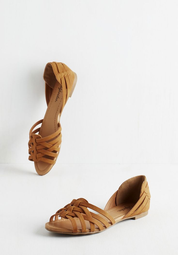 Temple of the Swoon Flat - Flat, Faux Leather, Tan, Solid, Casual, Boho, Festival, Good