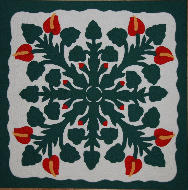 appliqued quilts | File:Hawaiian Applique Quilt 2.jpg - Wikipedia, the free encyclopedia