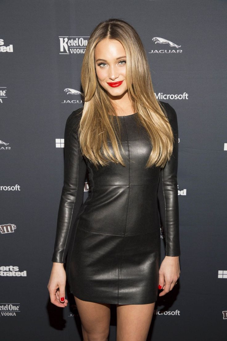 notonmyclothes:  swhsissy:  tuedaythought:  designerleather:  Hannah Davis in a leather dress for the Sports Illustrated VIP Red Carpet  (via TumbleOn )  Yes I do get so jealous at times !!  Great dress, but looks like she is a nail biter though