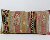 pink lumbar pillow cover coral bohemian decor weaving turkish kelim pillow asian sofa pillow bright kilim floor cushion pastel pillows 19937