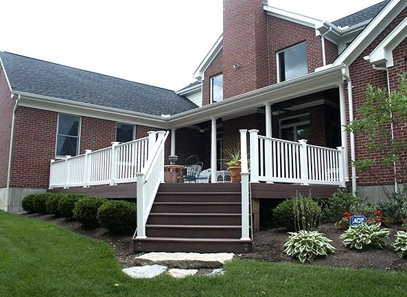Porch Vs Deck Which Is The More Befitting For Your Home: Brick House, Dark Stain, White Rails. Composite Decks