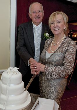 Bespoke handmade gown in silver Chantilly lace