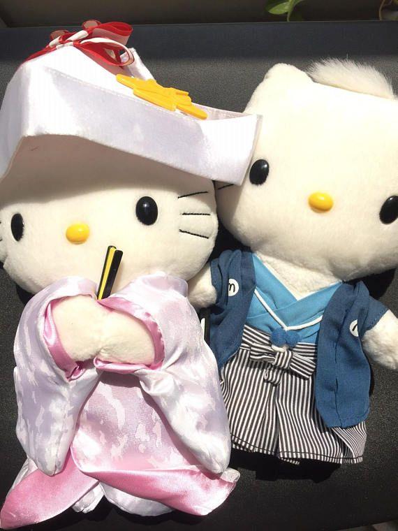 Hello Kitty and Dead Daniel stuffed dolls in Japanese Wedding
