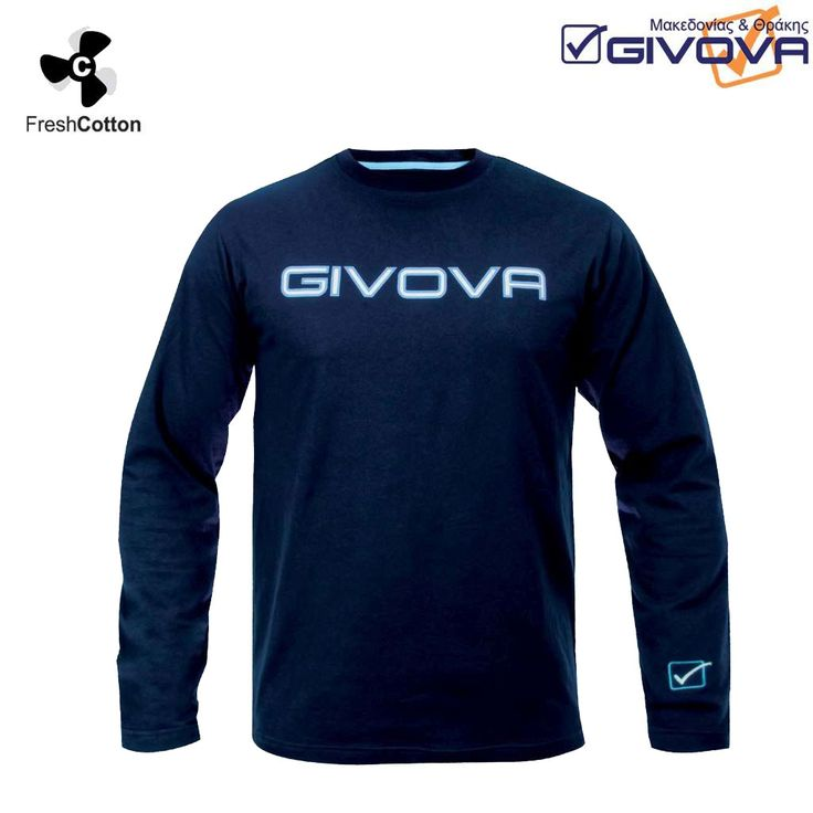 T-shirt college Μπλούζα μακρυμάνικη 100% βαμβακερή. Στο στήθος το λογότυπο είναι ανάγλυφο από καοτσούκ, ενώ στον καρπό του χεριού υπάρχει κεντημένο λογότυπο, με την γνωστή ποιότητα της Givova.