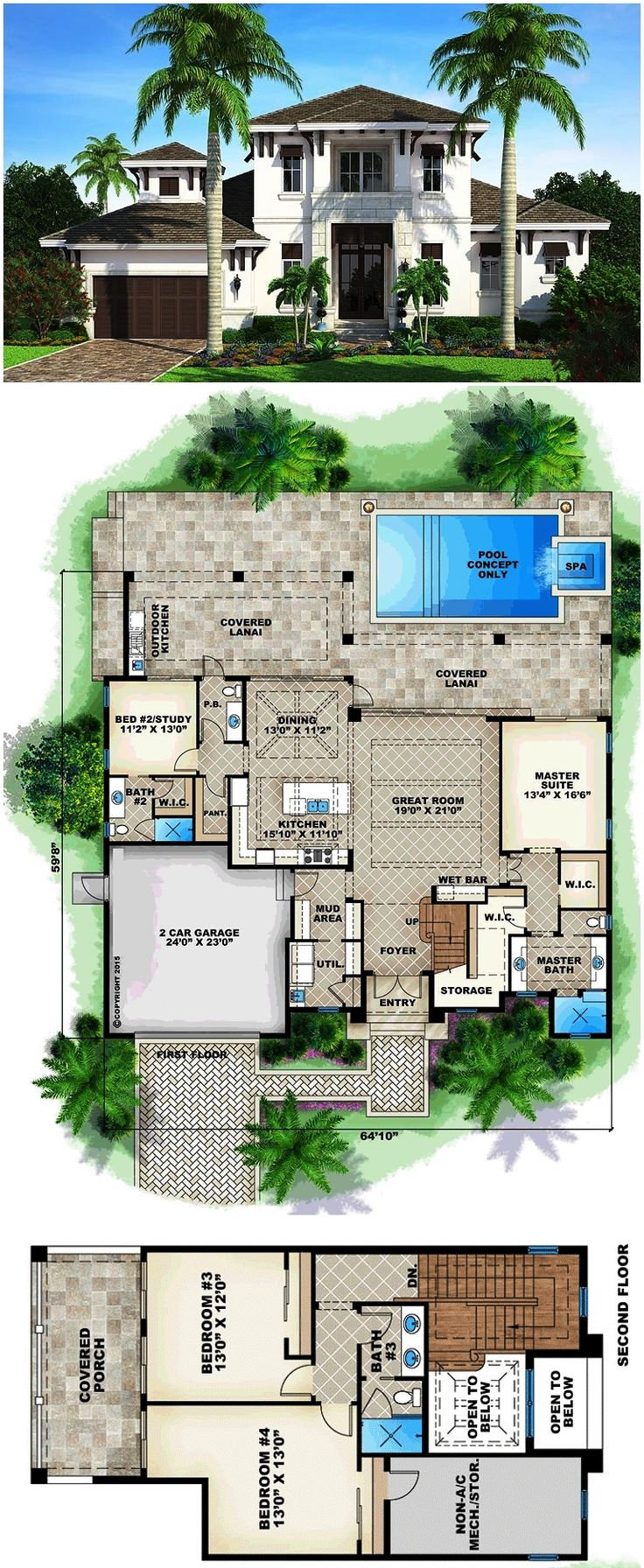 Florida mediterranean house plan 75931