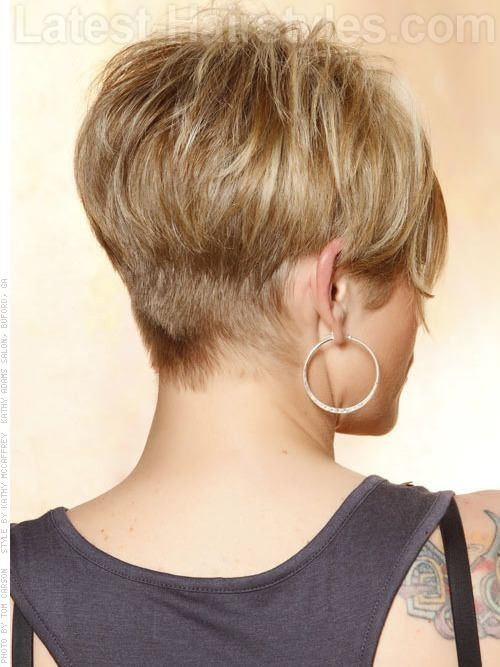 Short Blonde Wispy Pixie Sculpted Back - THE almost PERFECT back for my PIXIE cut with full crown and long bangs!!! OMG - YES!!! by Sherry Chaffin Rasmus