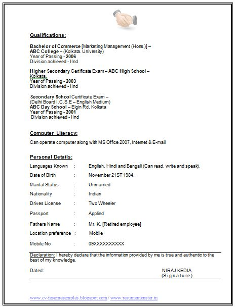 2 years experience resume