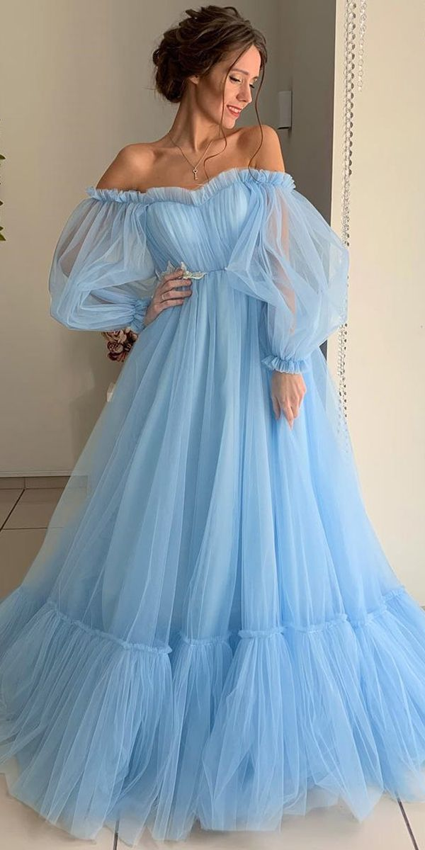 NEW! Modest tulle off-the-shoulder neckline floor-length A-line prom dresses with …