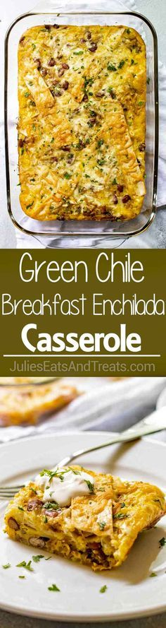 Green Chile Breakfast Enchilada Casserole ~ Make Ahead Breakfast Casserole is Loaded with Bacon, Potatoes, Pepper Jack Cheese and is Perfect for Feeding Breakfast to a Crowd! via @julieseats