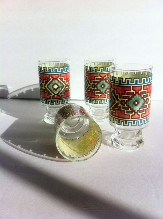 Southwestern Pattern Glasses  Vintage Set of 4 by Pesserae on Etsy