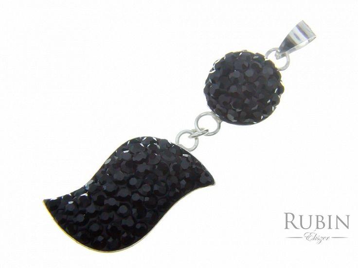 Swarovski kristályos  fekete csepp ezüst medál