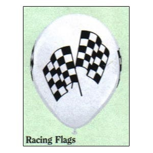 """11"""" Balloons Racing Flags (Qualatex) Empty.Sold individually, in 10's or in 100's."""