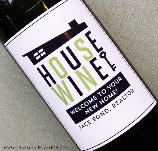 Wine Label Favors for Realtors New HomeMid by nancynikkodesign, $32.00