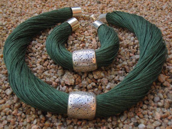 Set Necklace and bracelet Natural Linen green hornet Engraved Metal silver color…