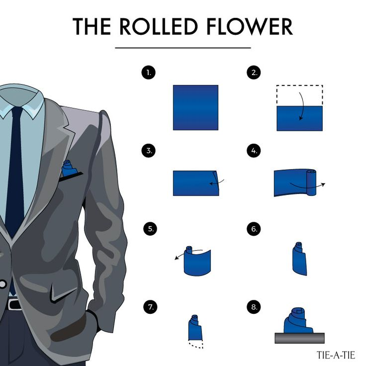 Another fun way to style your pocket square: The Rolled Flower Fold