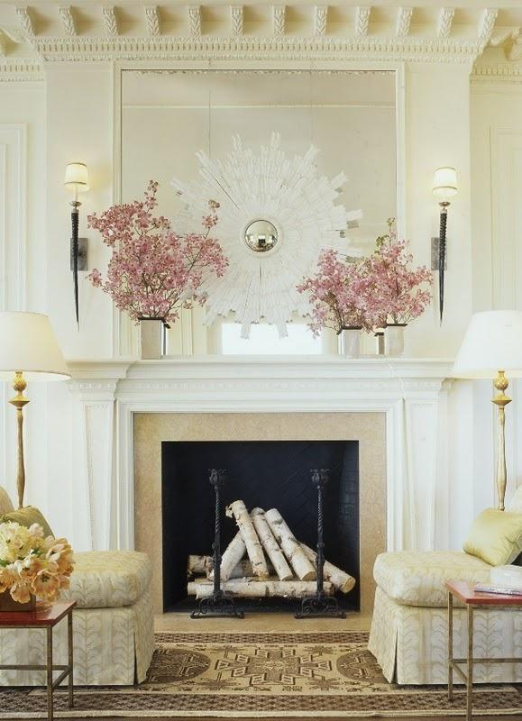 Fireplace with birch logs