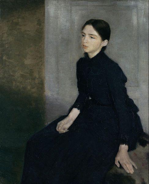 Vilhelm Hammershøi - Portrait of a young woman. The artist's sister Anna Hammershøi - Google Art Project (The Hirschsprung Collection)