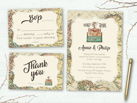 Wedding Invitation Suite Printable Wedding Invitation Travel