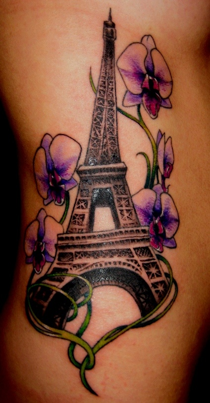 Like the eiffel tower in this not the flowers tattoo for The california dream tattoo shop