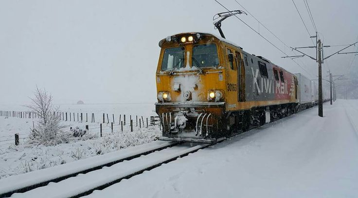 Our KiwiRail people have been sharing some great photos of the snow today, including this shot from locomotive engineer John Keenan, taken at Karioi. We hope everyone's keeping safe and warm tonight! July 13th 2017