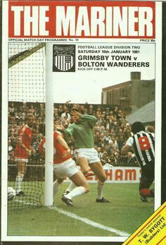Grimsby Town 4 Bolton 0 in Jan 1981 at Blundell Park. The programme cover #Div2
