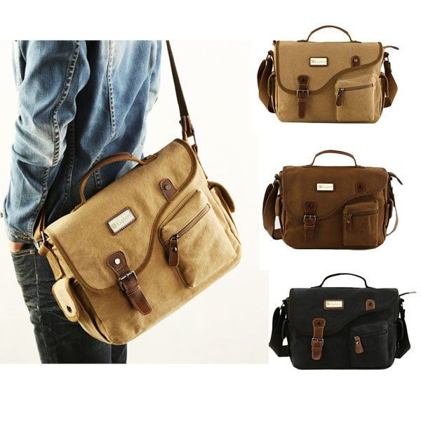 Men Canvas Casual Big Khaki Black Outdoor Shoulder Crossbody Bag Handbag - US$37.54