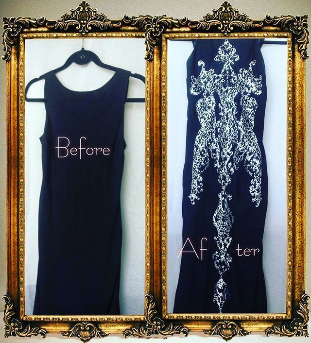 Simple silk evening dress before and after. Lace pattern on  the dress from manually perforated fabric. Designed & handmade by Natalia Alexandrova. This is an opportunity to apdate the boring clothes, make it unique. Perforation can be located on any garment component. A lot of samples of perforation, different in form and content. Any design, any shapes, any colors.