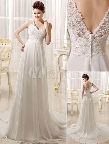 Elegante vestido de novia Marfil nupcial vestido de novia con vestido de escote plisado - Milanoo.com