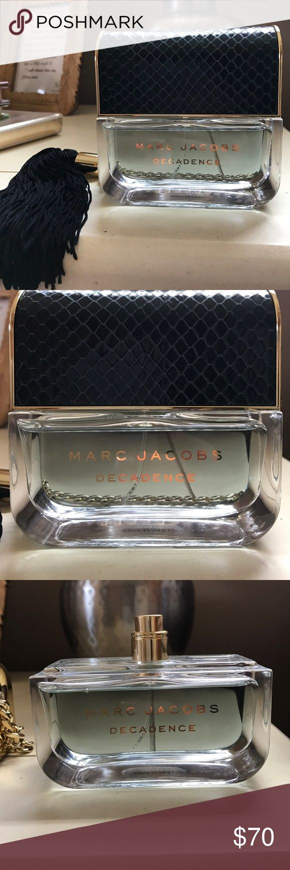 Marc Jacobs Devine Decadence Perfume AUTHENTIC! Purchased from Bloomingdale's Barely used. Sprayed 10 times maybe? I wear Decadence and thought I would get this for the lighter weather, but I'm just attached to my Decadence. Comes with tassel cap. Marc Jacobs Other