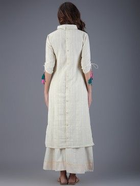 Ivory Collared Handwoven Khadi Kurta with Embroidered Pocket